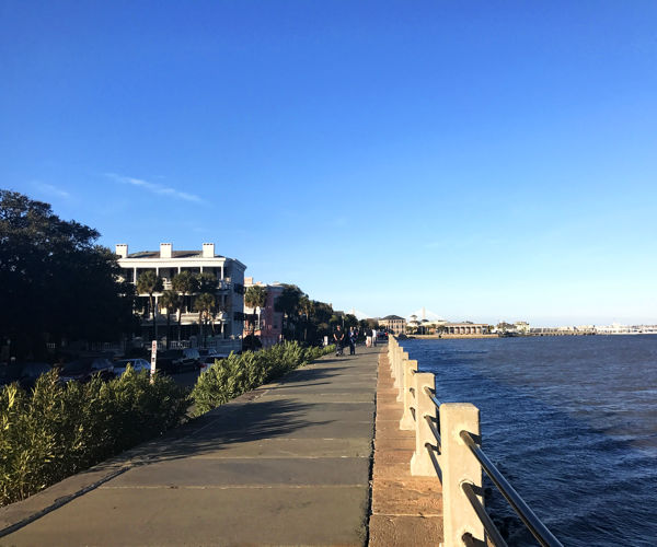 Homes on the water at Charleston's downtown Battery Park.